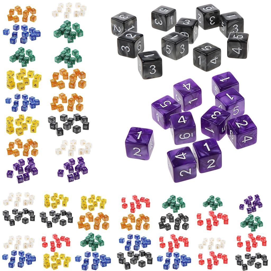 20 шт набор непрозрачных игральных костей D6 шестигранный трпг матричный квадрат для подземелья и игрушки дракона