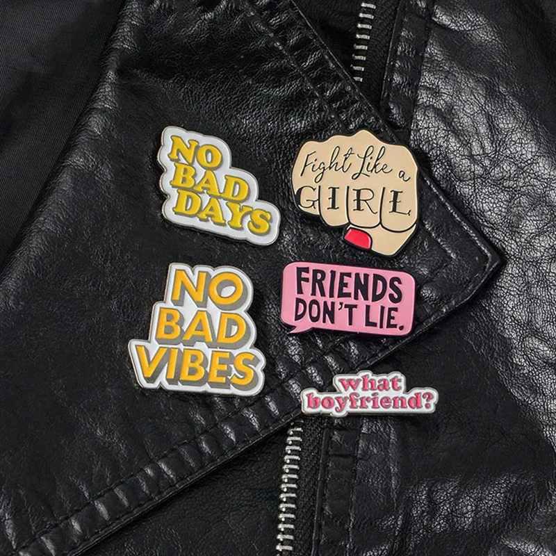 1PC น่ารัก Quote Enamel PIN สตรี Badge เข็มกลัด Lapel PIN กางเกงยีนส์เสื้อกระเป๋าการ์ตูนเครื่องประดับ