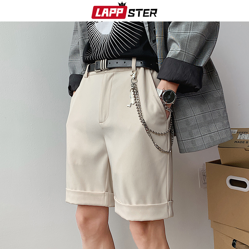LAPPSTER Men Korean Fashions Shorts Harajuku 2020 Summer Casual Knee Length High Waist Shorts Couple Khaki Sweatshorts Joggers