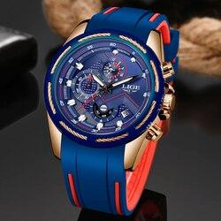 2019 LIGE Mens Relógios Top Marca de Luxo Esporte Chronograph Data Relógio De Quartzo Homens Silicone Strap Moda Relógio À Prova D' Água Reloje