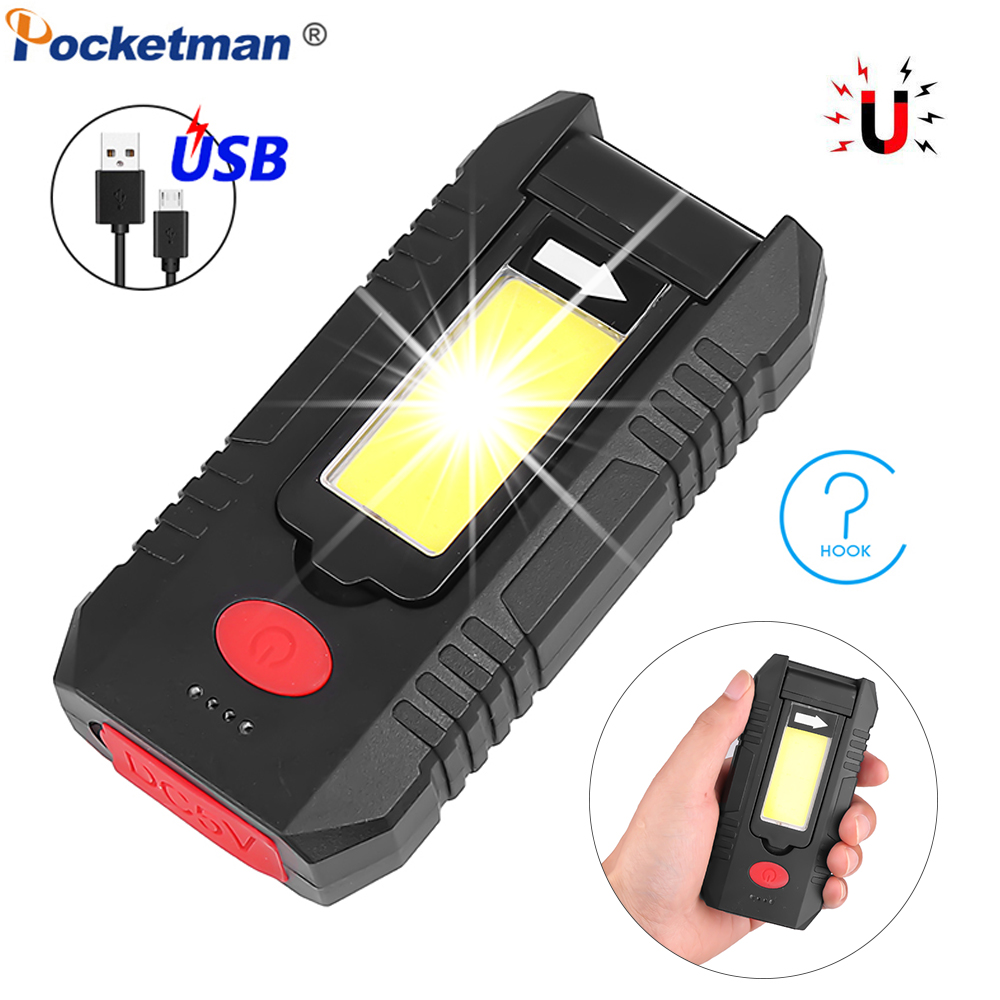 Portable COB LED Work Light USB Rechargeable Work Lamp Built-in Battery Flashlight Magnetic Torch With Hook Red Light Worklight