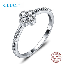 CLUCI Real 925 Sterling Silver Clover Zircon Ring Gift Jewelry for Women Party Wedding
