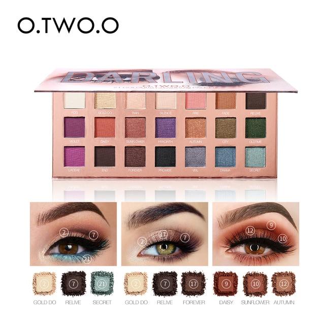 $ US $13.49 O.TWO.O Eyeshadow Palette Matte Shimmer Glitter Powder Professional Eyes Makeup Powder Pigmented Smoky Beauty Cosmetic Kit