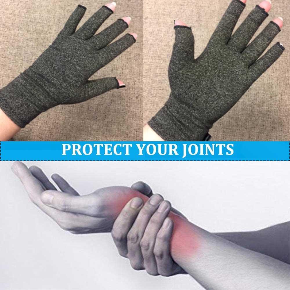 1 par de guantes para artritis de compresión Premium para alivio del dolor articular guantes de mano terapia dedos abiertos guantes de compresión