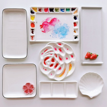 Cartoon ceramic palette watercolor palette oil painting Chinese painting paint white porcelain palette for art painting supplies