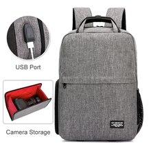 Appareil Photo DSLR épaules sac à dos Oxford étanche pour ordinateur portable 14 pouces avec Port USB sac trépied pour Canon Nikon SLR