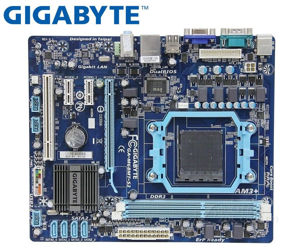 Gigabyte GA-M68MT-S2P Original Desktop Motherboard For AMD  GA-M68MT-S2 DDR3 Socket AM3 GM68MT-S2P M68MT-S2 USB2.0 Motherbaord