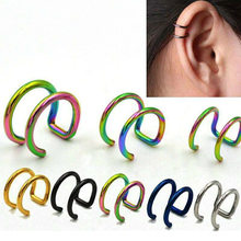 1 Pcs Clip Op Wrap Earring Tragus Roestvrij Staal 2 Ringen Oor Manchet Clip Neus Ring Fake Piercing Body Sieraden dilataciones(China)