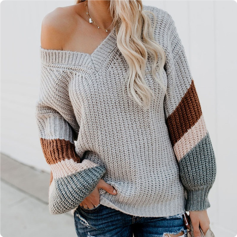 Women's Striped V-neck Knitted Sweater Lantern Sleeve Patchwork Ladies Sweaters Tops 2019 Autumn Winter Female Loose Jumper New