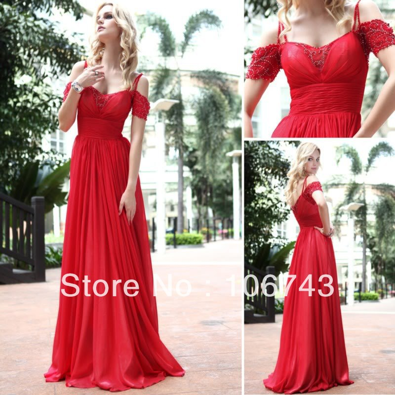 Free Shipping 2018 Best Seller New Robe De Soiree Sexy Brides Custom Size Pearls Dinner Beading Red Long Bridesmaid Dresses