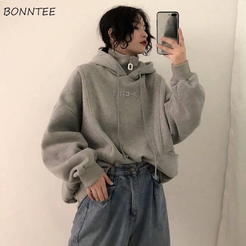 Толстовка Женская, осенняя, зимняя, модная, в Корейском стиле, простая, повседневная, Ulzzang, высокое качество, уличная одежда, мягкая, свободная, однотонная|Толстовки и свитшоты|   | АлиЭкспресс - шмотьё