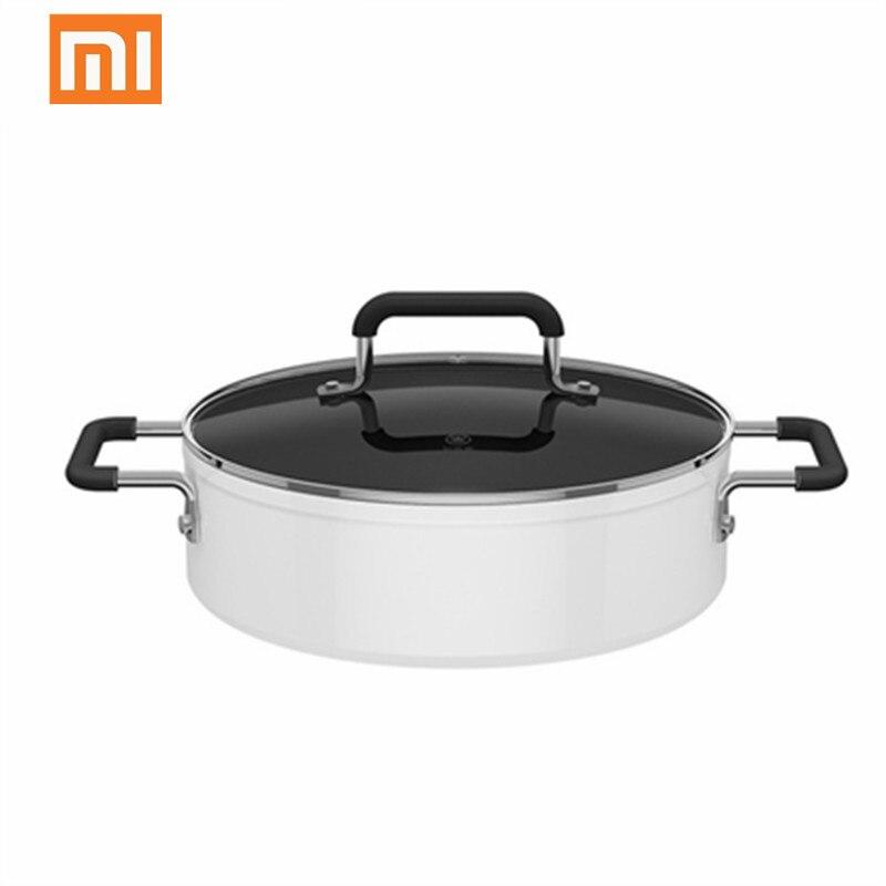 Xiaomi mijia panela de indução 4l, panela antiaderente de alumínio coberta rapidamente para sopa, recipiente à noite