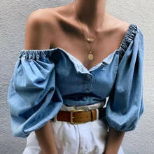 2019 New Women Off Shoulder Denim Shirts Lantern Sleeve Blouses Solid Ladies Elastic Slash Neck Shirts All-Matching Women Tops(China)