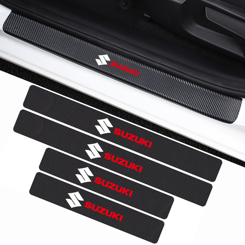 4PCS Car Threshold Decals Door Sill Cover Carbon Fiber Sticker For For Suzuki Swift SX4 Vitara Jimny S-CROSS Car Accessories