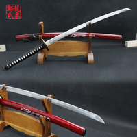 Katana swords japanese samurai 104cm 1045 carbon steel full tang quality red sheath display knife metal handmade craft