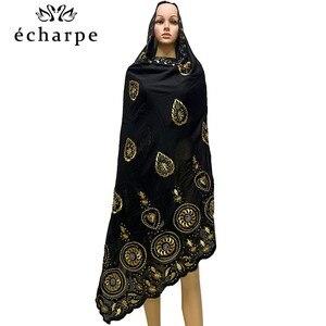 Image 5 - % 100% pamuk eşarp afrika kadınlar özel müslüman kadınlar nakış başörtüsü eşarp büyük daire tasarım başörtüsü EC122