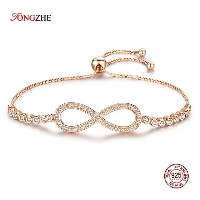 TONGZHE Bracelets en argent Sterling 2019 925 pour hommes, sans fin, or Rose, bijoux à breloques Infinity Tennis Bracelets pour femme