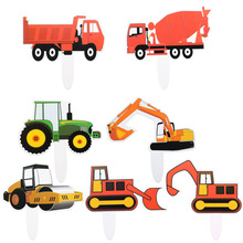 7 Pcs/lot Cake Topper Cartoon Engineering Car  Excavators Childrens Birthday Party Dessert Table Decoration