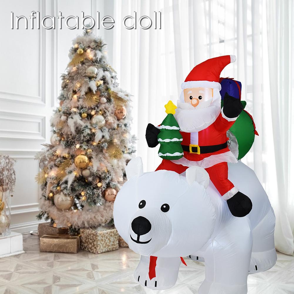 2M Oso Polar inflable Santa Claus montando Navidad muñeca inflable Año Nuevo Feliz Navidad decoración para el centro comercial - 5