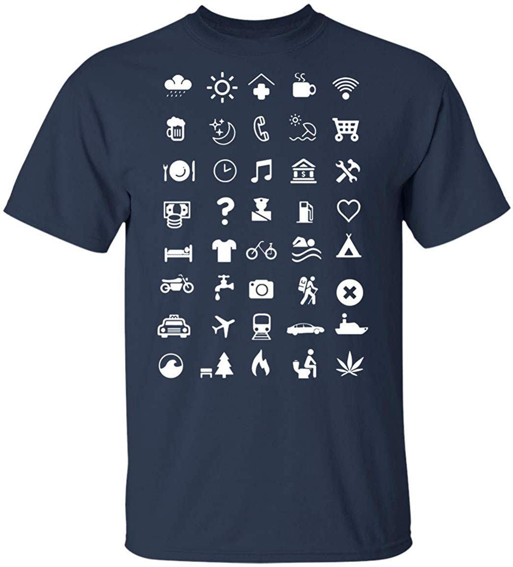 Travel Icon T Shirt, Backpacking Holiday Iconspeak Travelling Gift TEE Shirt High Quality