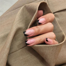 American punk style pure color with black V pattern false nails 24pcs with press glue french lady full nail tips bride fake nail