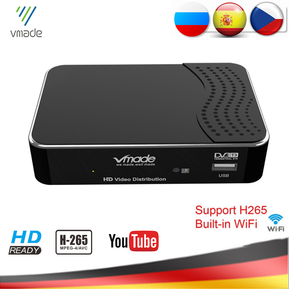 New DVB-T2 Digital Terrestrial Receiver Built-in WIFI H.265/HEVC DVB-T TV Tuner MPEG4 Hot Sale Europe Support AC3 Audio Youtube
