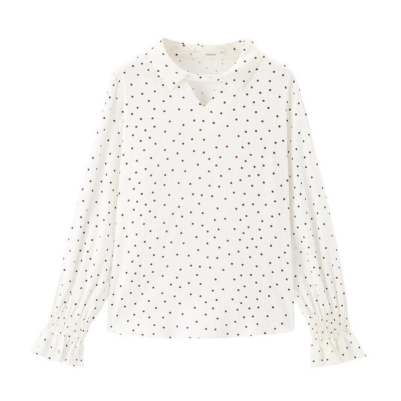Image 5 - INMAN 2020 Spring New Arrival Literary Candy Color Dot Pattern Turn Down Collar Flare Sleeve Women Blouse ShirtBlouses & Shirts   -