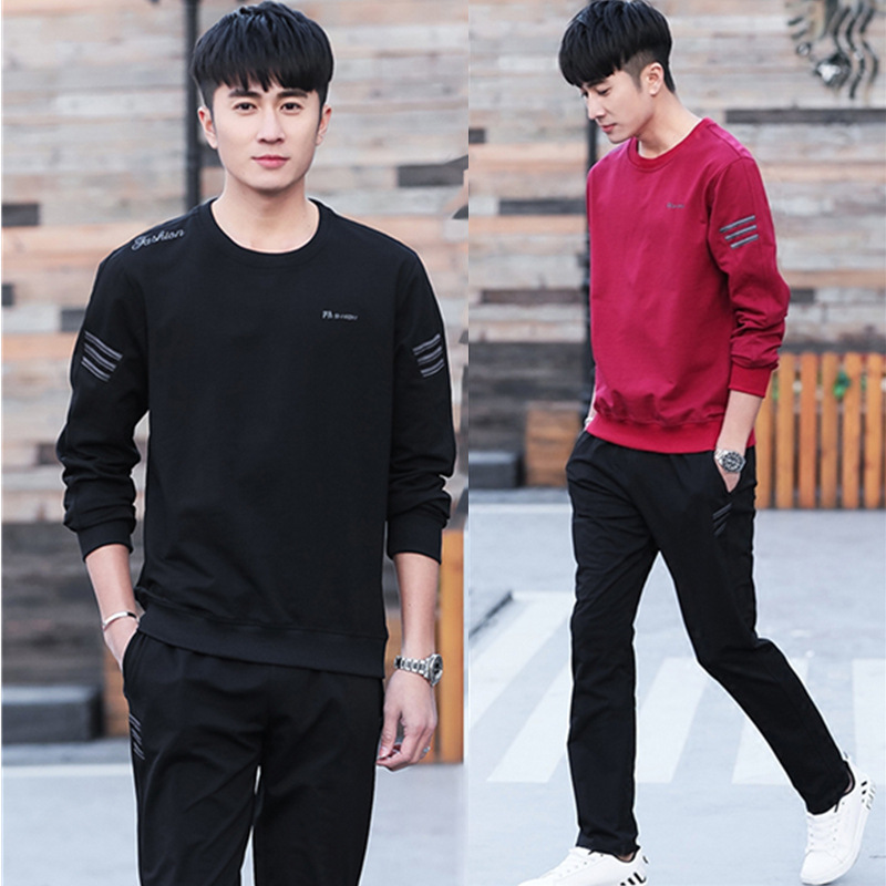 Spring And Autumn 2019 New Style Sports Set Men's Hoodie Long Sleeve Sports Trend Casual Coat Running Slim Fit Cotton Set