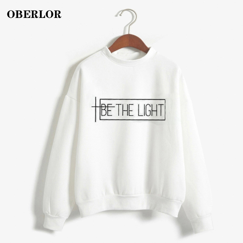 Women Hoodies Aesthetic Be The Light Printed All-match Sweatshirts Unisex Casual Long Sleeve Sportswear Daily Harajuku Pullover