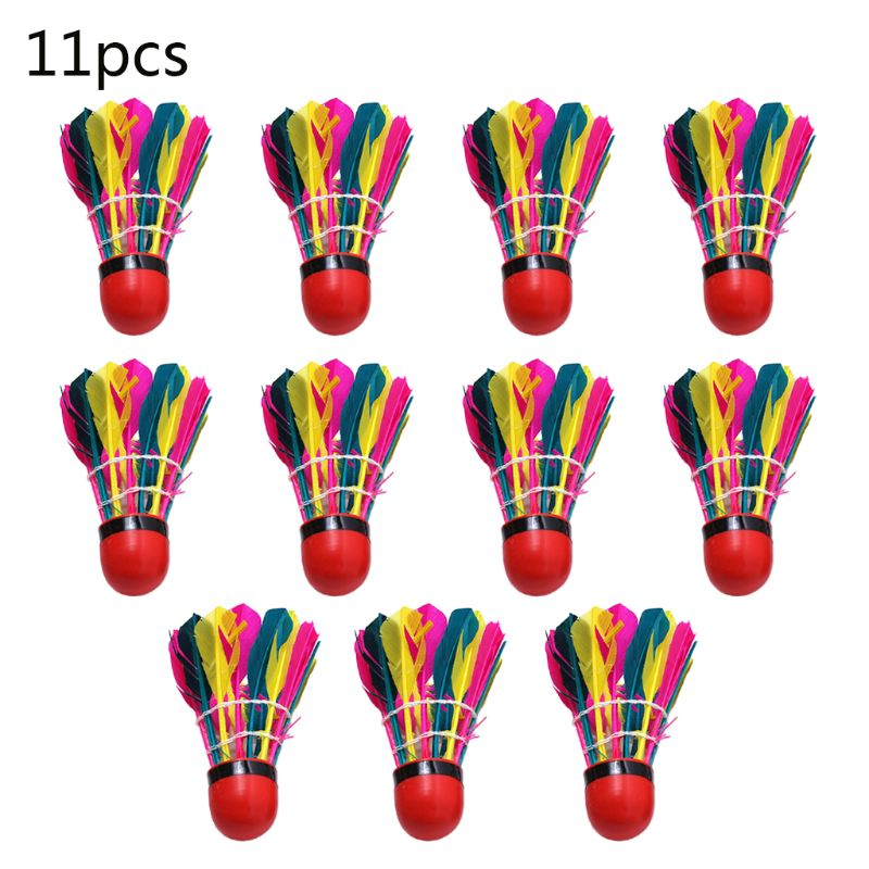 11Pcs/Tube Colorful Badminton Balls Durable Feather Shuttlecock Gym Exercise Sport Training Accessories