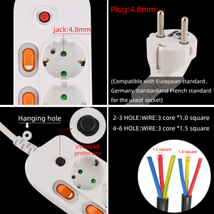 Image 2 - Ab tak akıllı elektrik soketi 2USB 5V 2A güç şeridi dalgalanma koruyucusu 1.5/2.5M uzatma kablosu soketi ev ağ filtresi