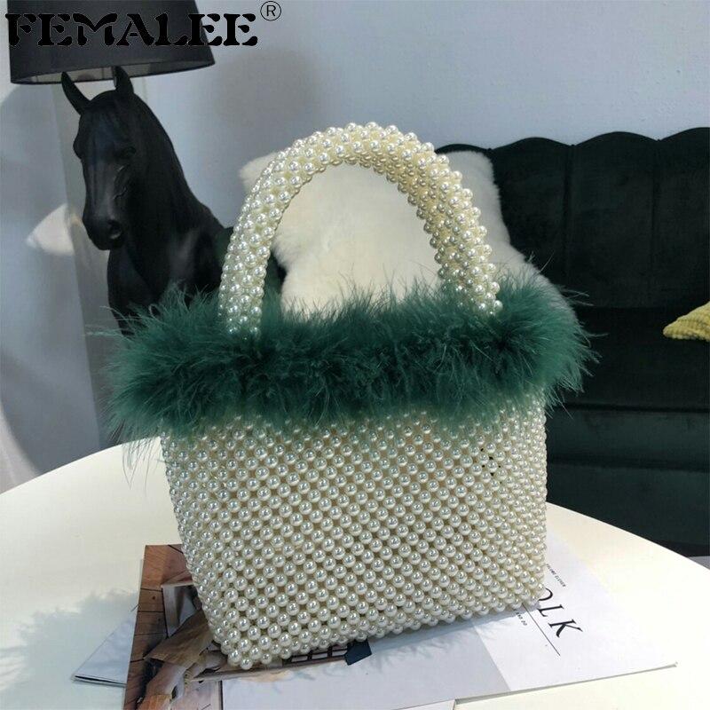 Combo perle sac fourre-tout mode nouvelles dames sacs tissés à la main femmes Designer sac à main fourrure bordé chaîne épaule Messenger sac