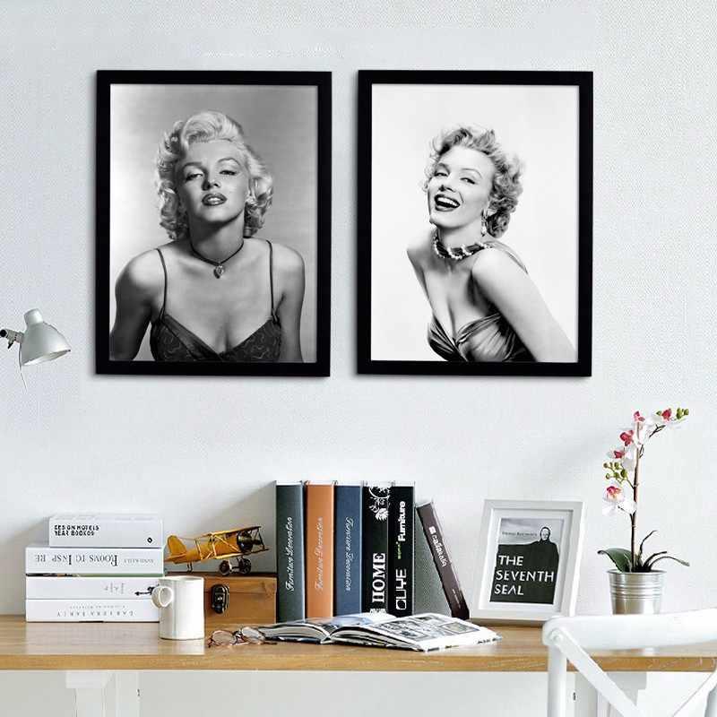 Marilyn monroe quadros de parede para sala de estar filme cartazes e cópias da arte da parede pintura em tela decoração casa preto branco figura