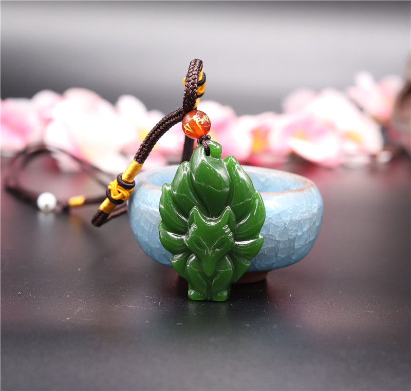 Natural Green Jade Seven-tailed Fox Pendant Necklace Charm Jewellery Fashion Accessories Hand-Carved Man Luck Amulet Gifts New