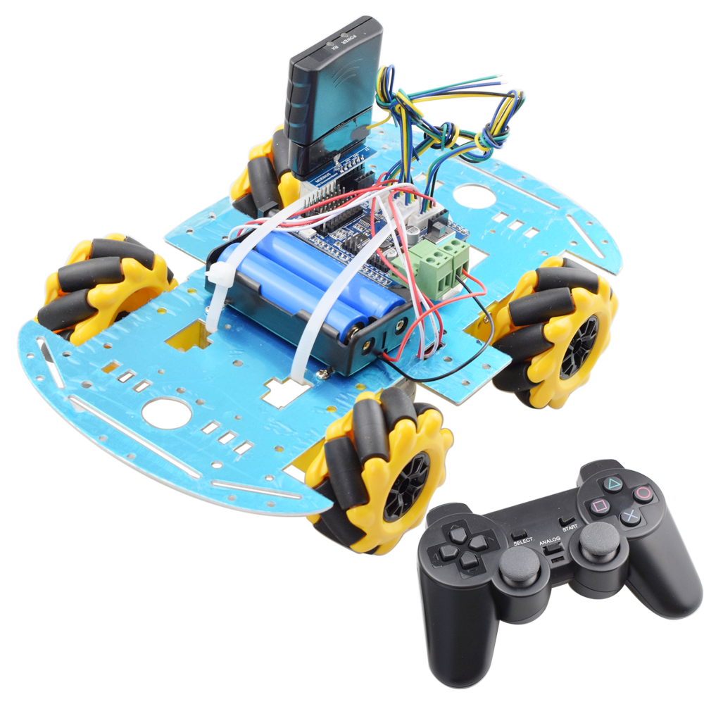 PS2 Handle RC Control Omni Mecanum Wheel Robot Car Kit With UNO R3 Board Motor Driver Board For Arduino Progarm DIY STEM Toy
