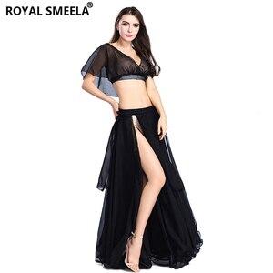 Image 4 - Gorąca sprzedaż kobiet seksowny zestaw do tańca brzucha taniec brzucha ubrania moda dziewczyny szyfonowa bellydance Top spódnice praktyka nosić