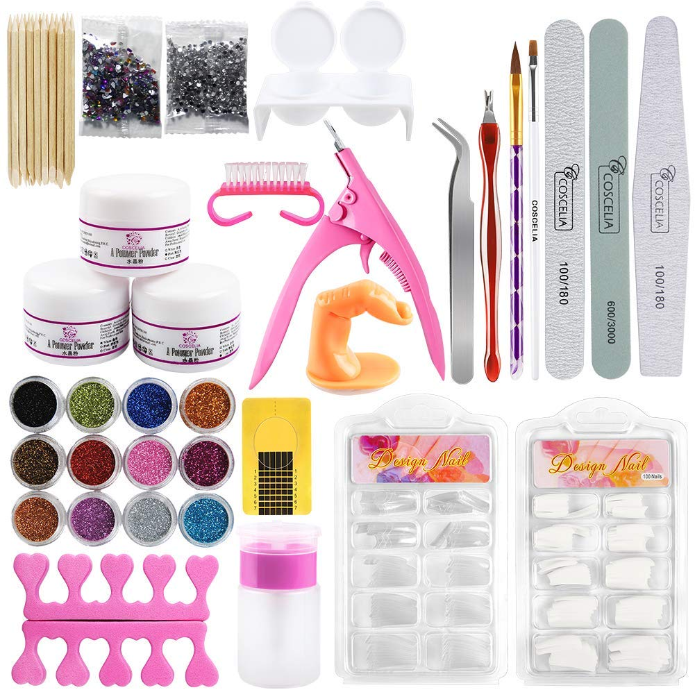 Gel Nail Set Acrylic With Drill Nail Kit Professional Tool Practice Brush Clipper Manicure Care Nail Foil Sticker Nail Polish