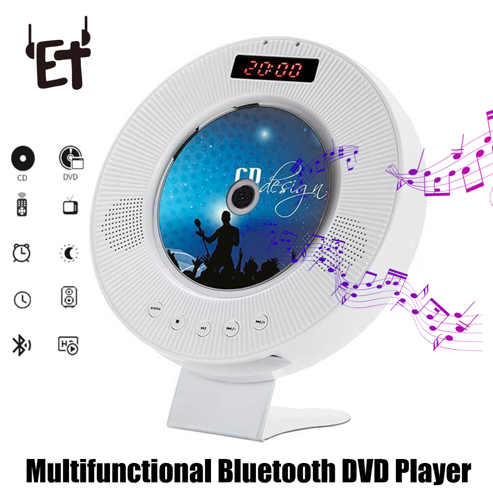 ET Wall Mounted CD Player 2nd Gen Support DVD Play with LED Display Remoter Hifi FM Radio Bluetooth Music Player Support USB TF