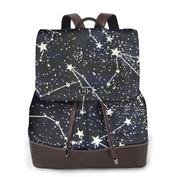 NOISYDESIGNS Shoulder School Backpack Ladies Constellation Printed Backpack Design Custom Knapsack Women Mochila Feminina