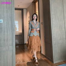 2019 autumn and winter new womens fashion trend plaid stitching suit + mesh cute sweet skirt two-piece Sashes