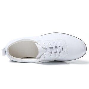 Image 4 - Gizlemek topuk hakiki deri ayakkabı kadın moda ayakkabı yeni dantel Up yüksekliği artan rahat ayakkabılar beyaz ayakkabı XU161