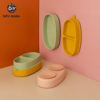 Zróbmy dziecięcy zestaw stołowy miseczka silikonowa naczynia dziecięce dla dzieci obiad BPA wolna płyta oddzielna adsorpcja frajerem