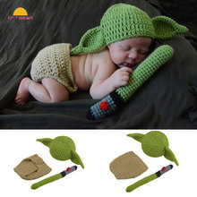 Hot Baby Yoda Hats Set Knitted Wool Warm Elastic Baby Hat Newborn Photography Props For Girls Boys Autumn Winter Beanie