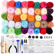 LMDZ Needle Felting Starter Kit, Needle Felting Tools 40 Colors Wool Roving with Wool Needles, Needle Felting Needles