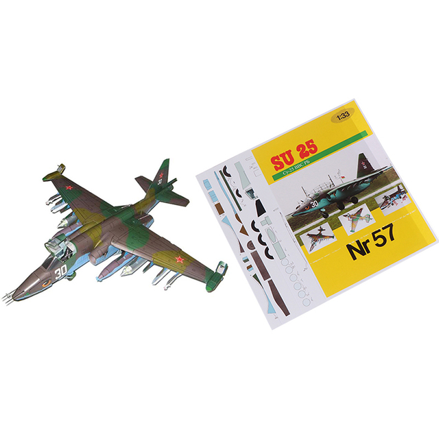 1PC 1:33 Su-25 Fighter Aircraft DIY 3D Paper Model Building Sets Construction Toys Educational Toys 1