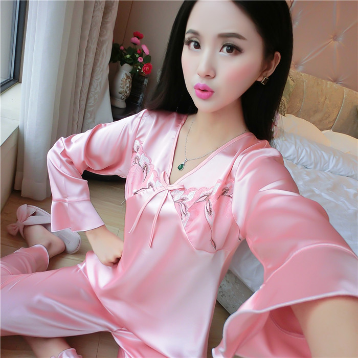 Pajamas Women's Summer Long Sleeve Thin Type For Spring And Autumn Real Silk Pajamas Women's Two-Piece Set Viscose Sexy Silk Hom