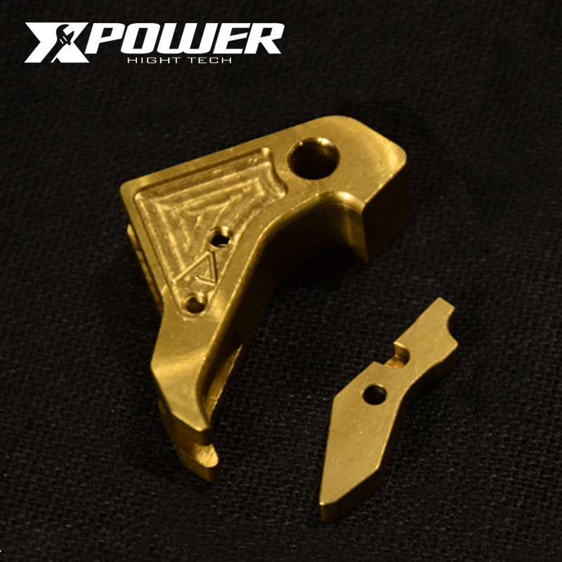 XPOWEAA Outer Trigger Gold ID:4000472902524 GLOCK 17 TM Systerm Metal Outer Trigger Fit Kublai P1 Unicorn Industries CNC Cutting