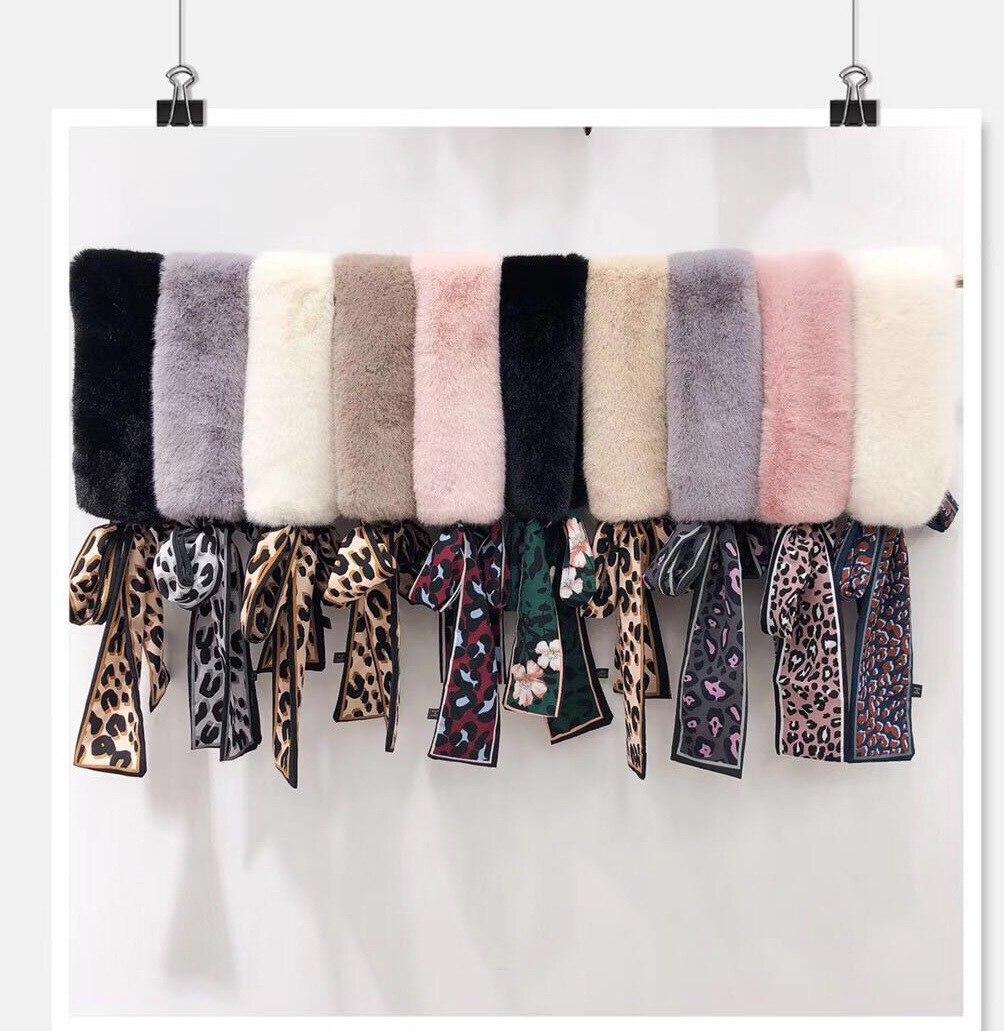 Леопардовый принт, шелковый пояс, плюшевый шарф, воротник-стойка, нагрудник, имитация меха, кроличья шерсть, зимний шарф