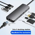USB C zu Rj45 Lan 4K HDMI 3 USB 3.0 SD Karte 3,5mm Audio Port 9 In 1 Typ C Dock Adapter Hub PD Ladung für Macbook/S8 Dex Modus