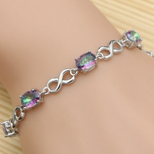 Beautiful Rainbow Fire Mystic Topaz Bracelet Solid Genuine 925 Sterling Silver Christmas Gifts For Women RB0010